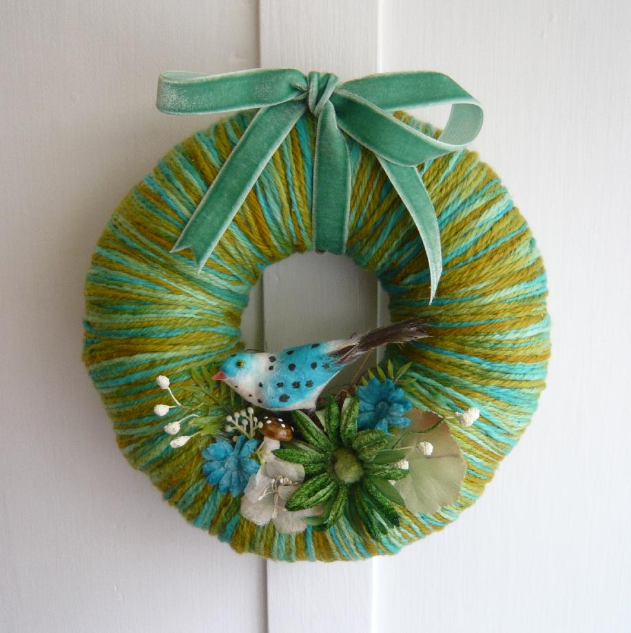 Polka Bird Yarn Wreath