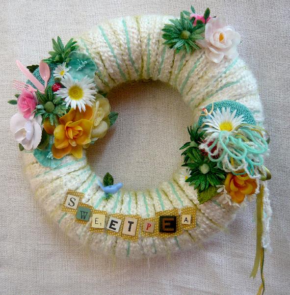 Sweetpea Yarn Wreath, custom