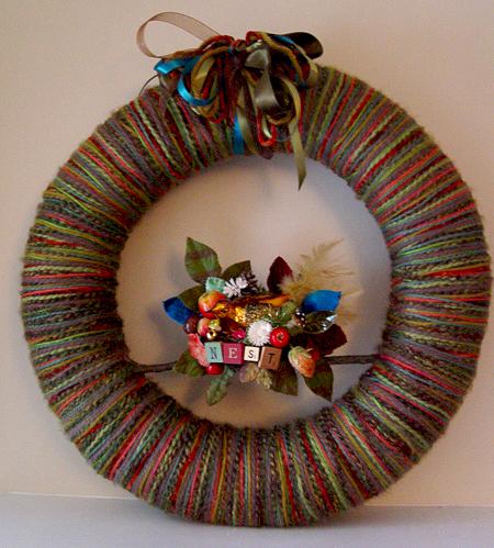 Big Nest Yarn Wreath, custom