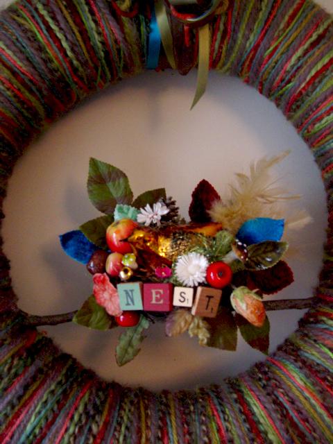 Big Nest Yarn Wreath, detail.