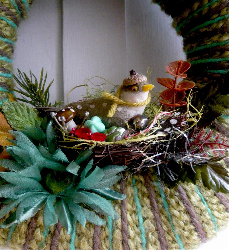 Fall Bird & Yarn Nest II, detail