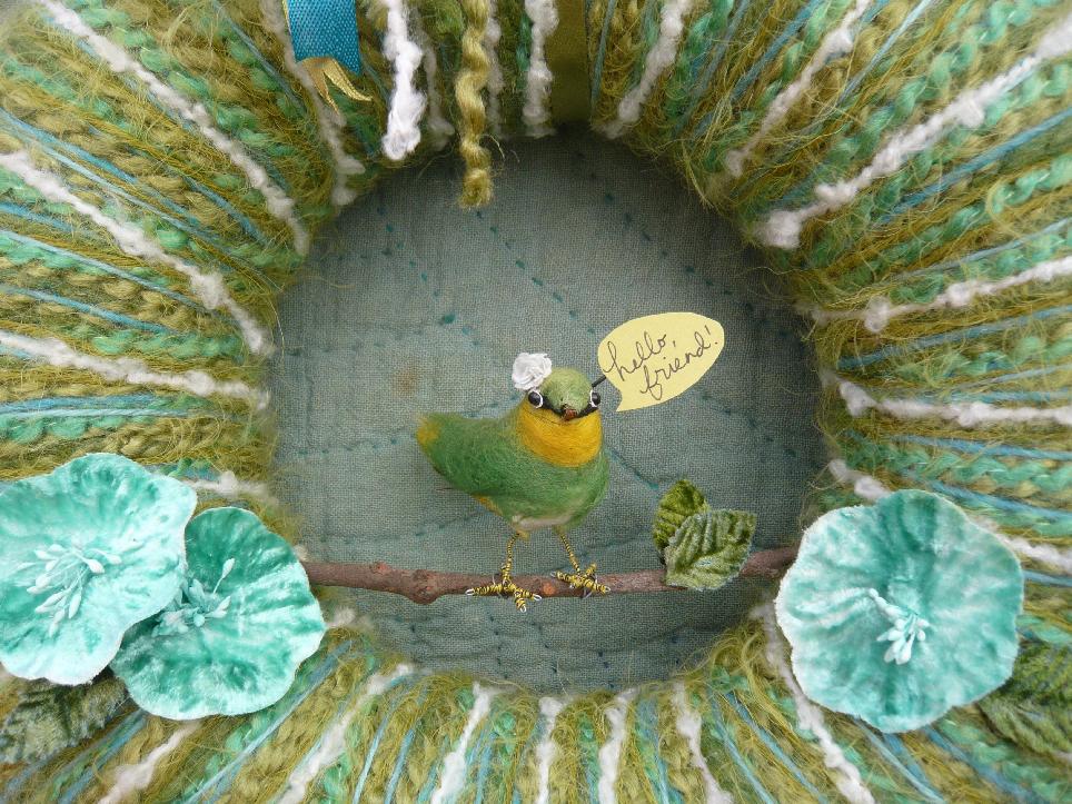 Hello, Friend Yarn Wreath, detail