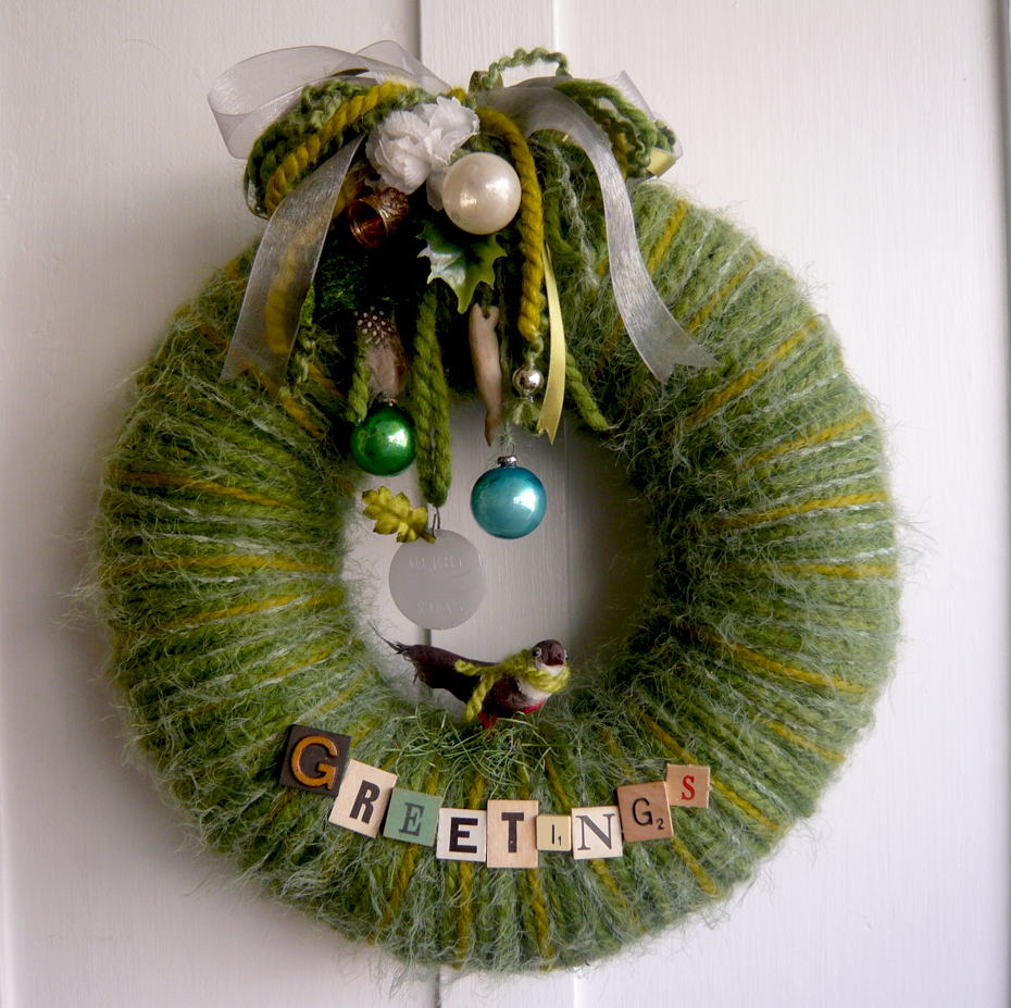 Winter Greetings Yarn Wreath