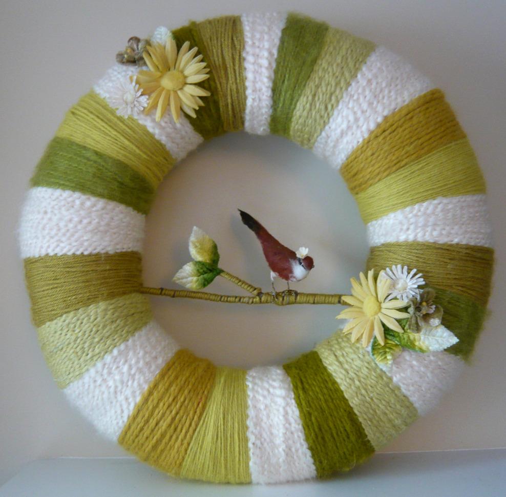 Mixed Greens Stripe Yarn Wreath