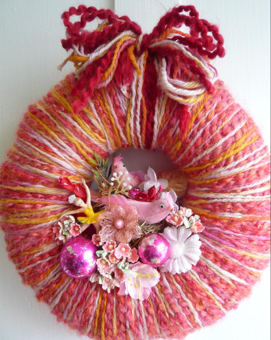 Pink Pair Yarn Wreath