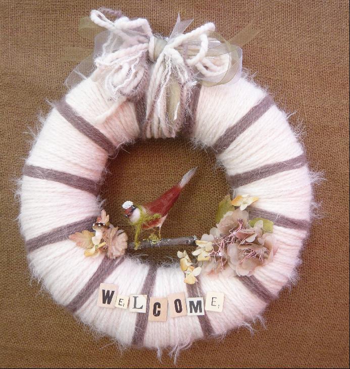 Welcome Bird Yarn Wreath