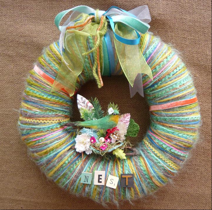 Green Bird Nest Yarn Wreath, custom