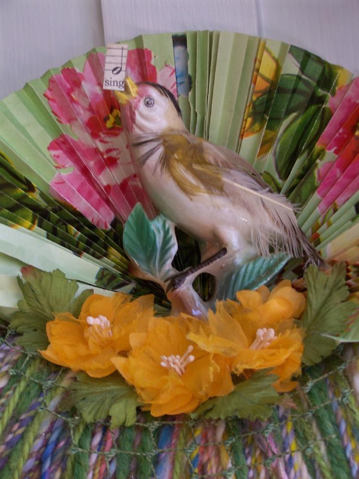 Songbird Yarn Wreath, detail