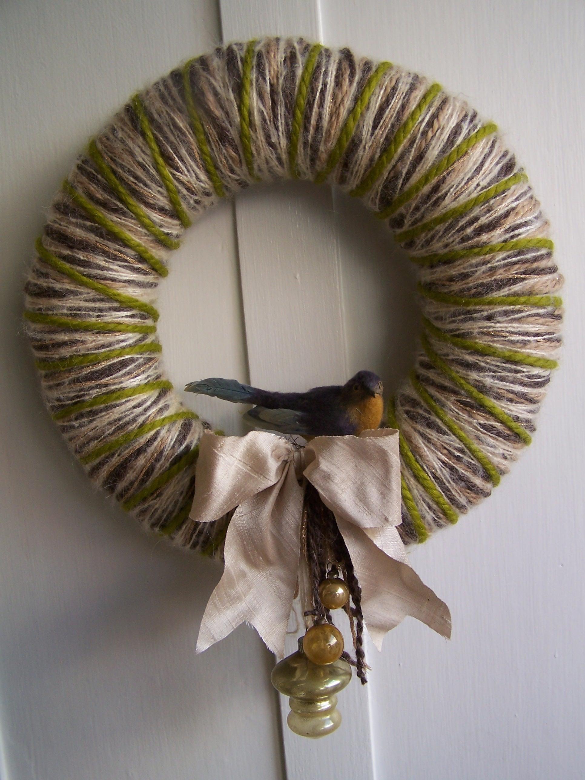 Winter Baubles Yarn Wreath