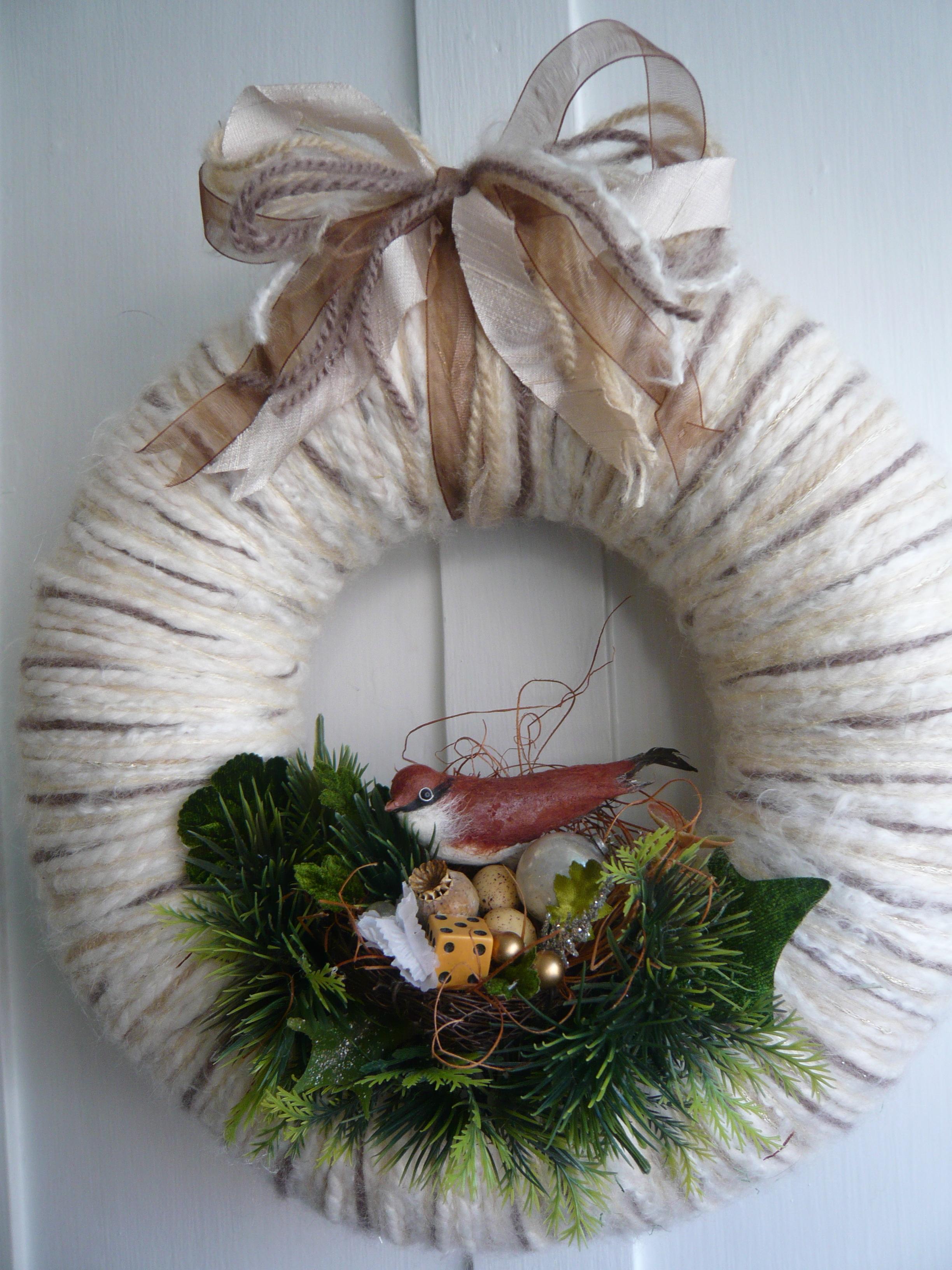 Woodland Nest Yarn Wreath