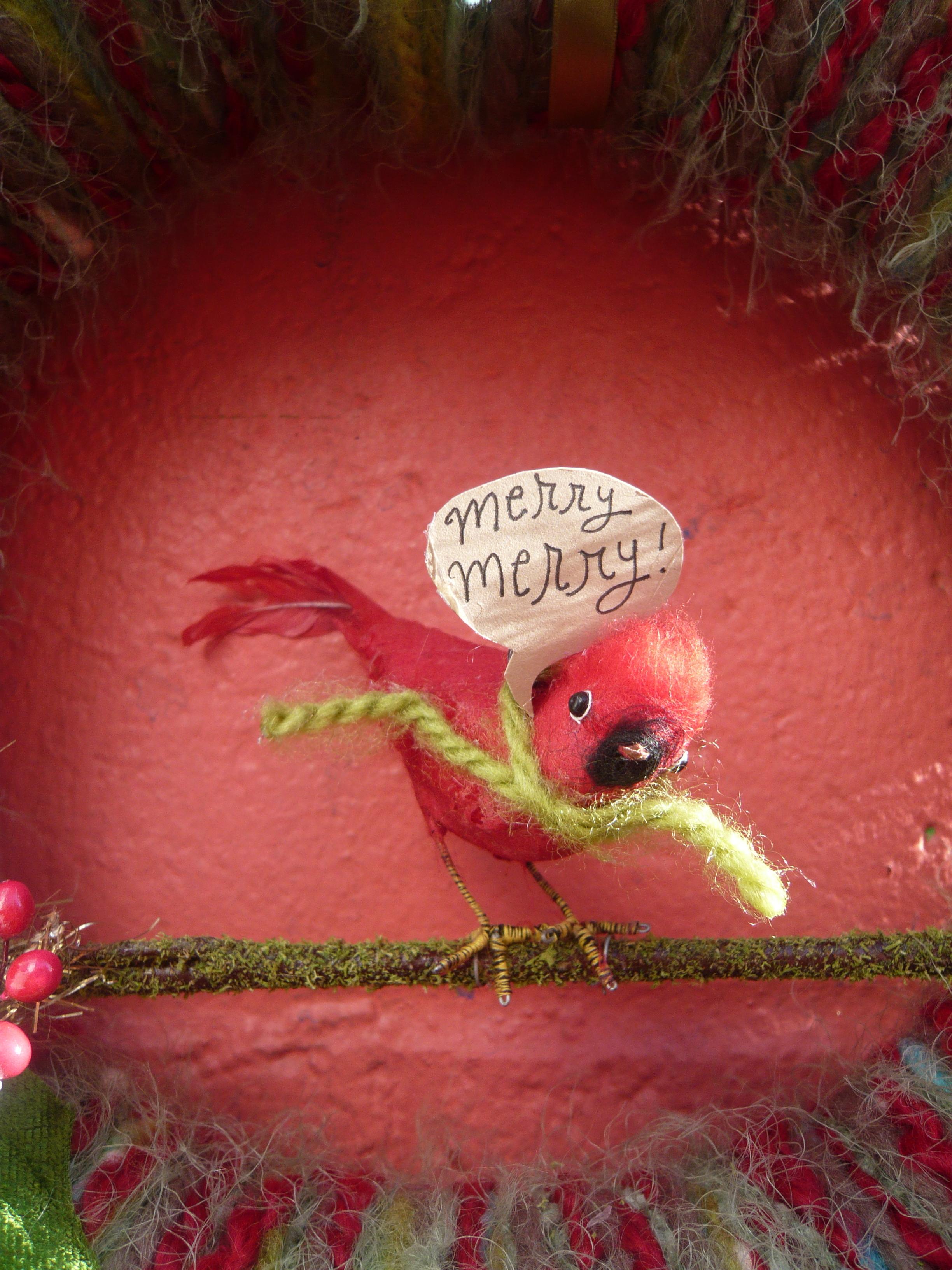 Merry Merry Bird Yarn Wreath, detail