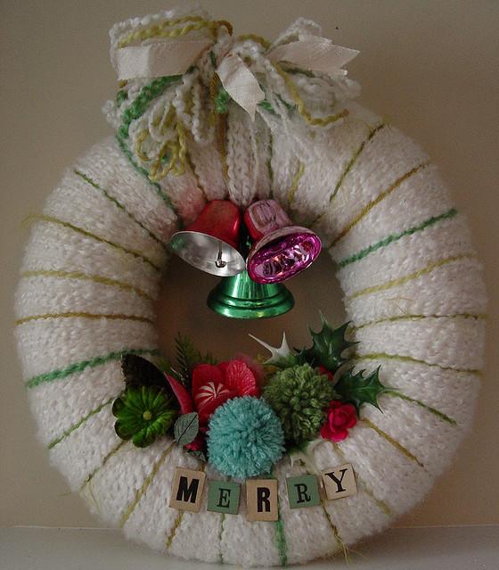 Merry Bells Yarn Wreath