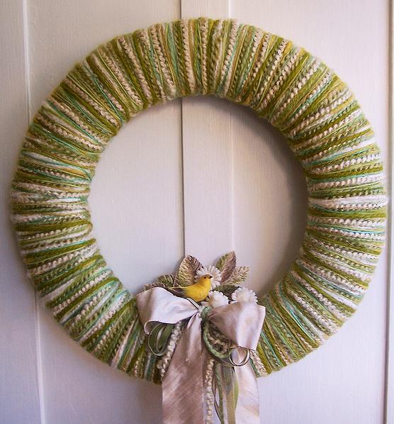 Spring Green Yarn Wreath
