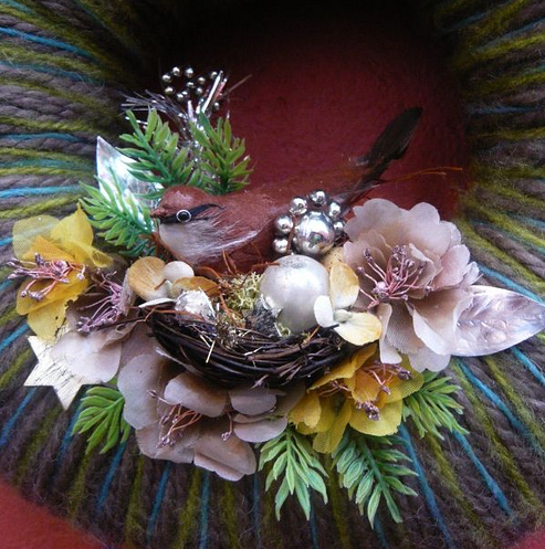 Winter Bird & Yarn Wreath, detail