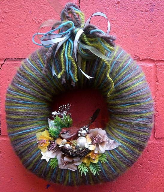 Winter Bird & Yarn Wreath