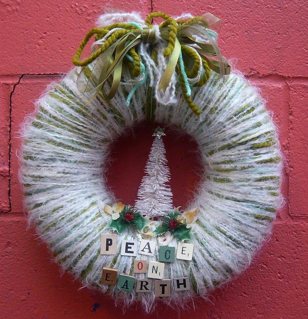 Peace on Earth Yarn Wreath