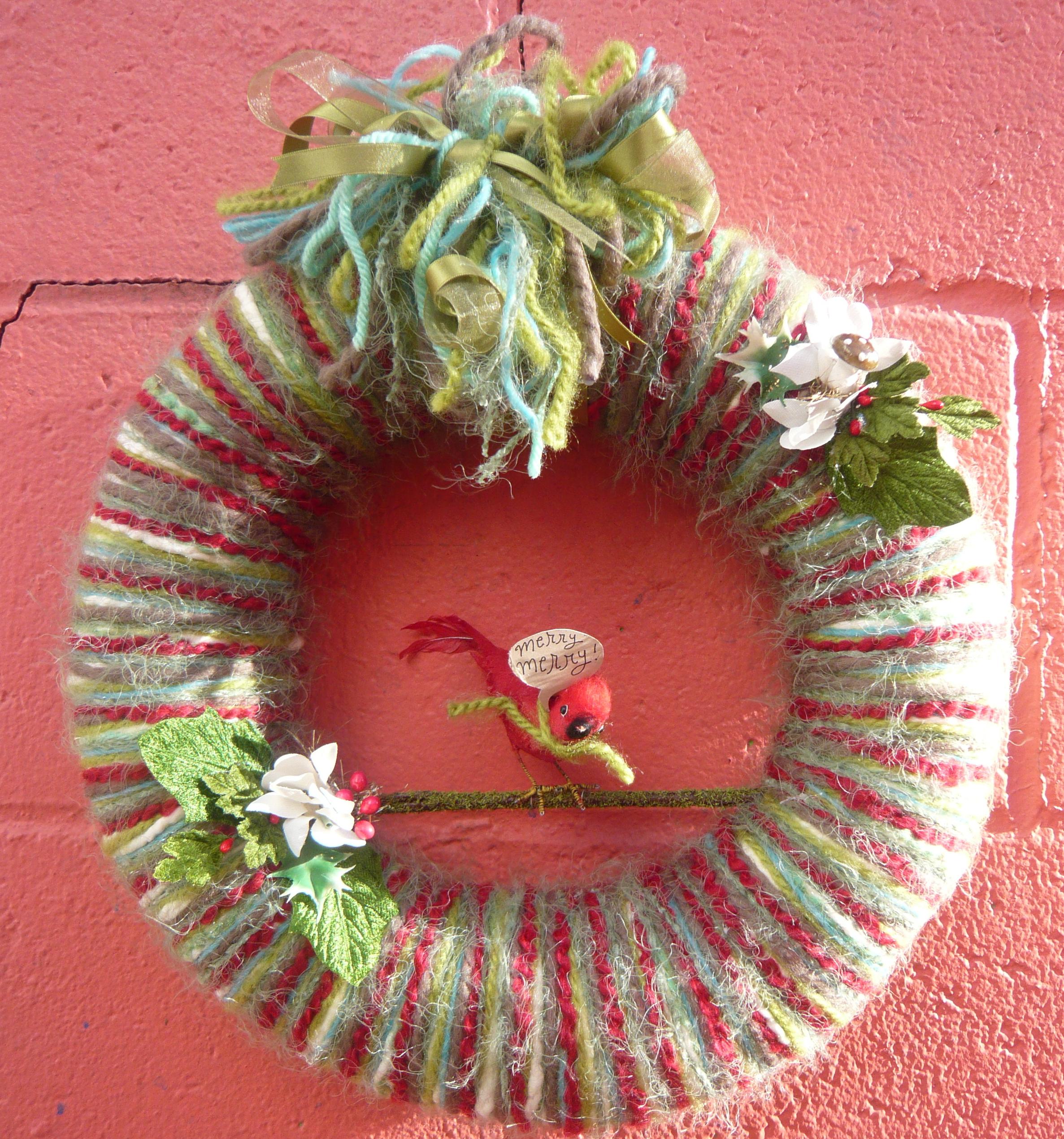 Merry Merry Bird Yarn Wreath