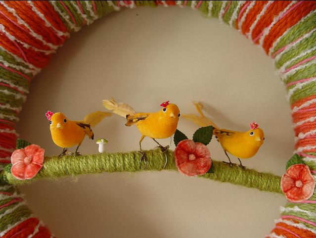 Sister Birds Yarn Wreath, detail