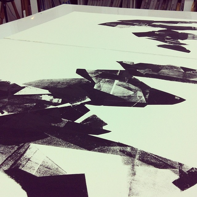 Two of these unnamed black mountain prints, side by side.