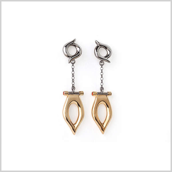 Firefly drop earrings - £430   Silver plated in 18k gold and black rhodium and embellished with fire opals