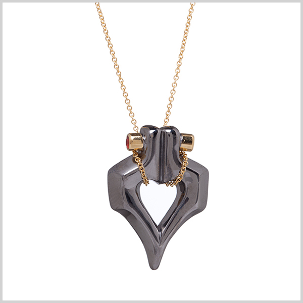 Double firefly pendant - £255  Silver plated in 18k gold and black rhodium and embellished with fire opals