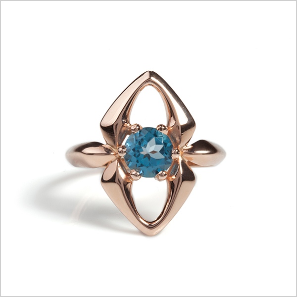 Hope gemstone ring £210   Silver plated in rose gold and embellished with blue topaz gemstone