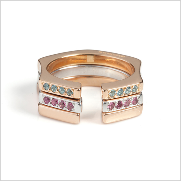 Three Hope stacking rings £425    Silver plated in Rhodium and rose gold, embellished with blue topaz & pink tourmaline's