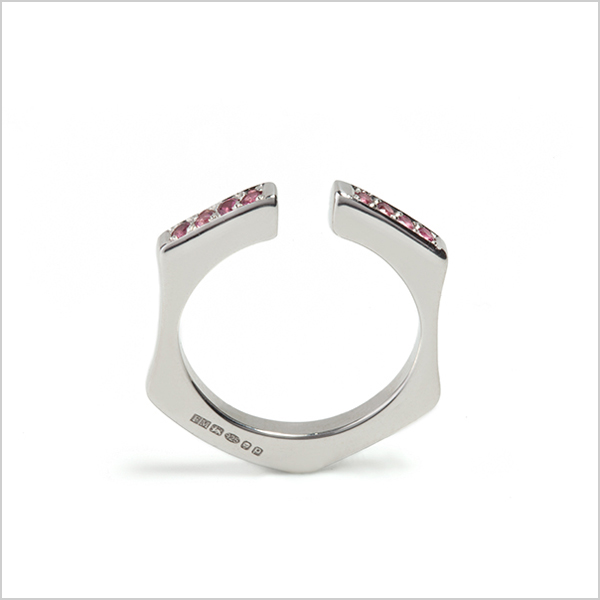 Hope stacking ring with gemstones £165    Silver plated in rhodium embellished with pink tourmaline's