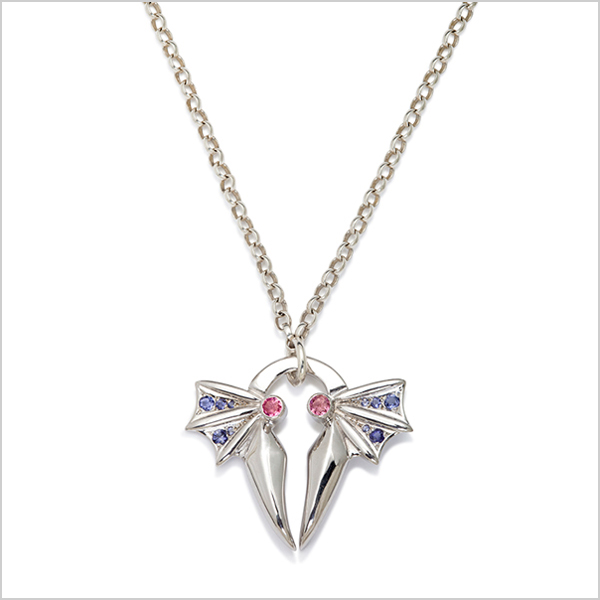Hope pendant £360    Silver plated in rhodium embellished with pink tourmaline's & Iolite