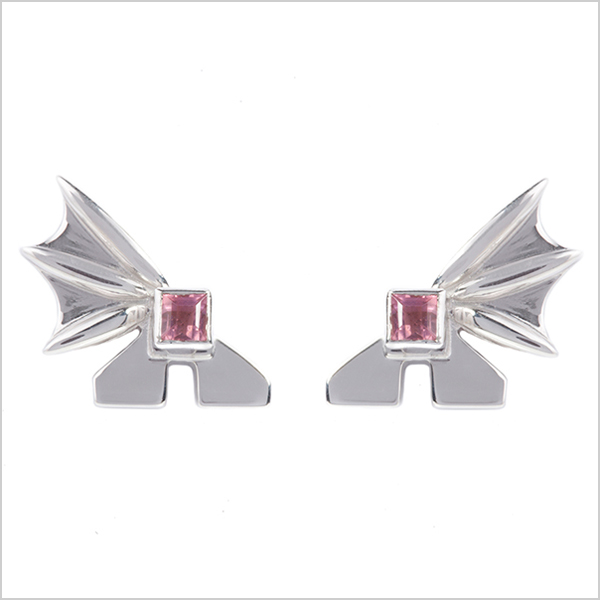 Hope square studs £225   Silver plated in rhodium embellished with pink tourmaline's