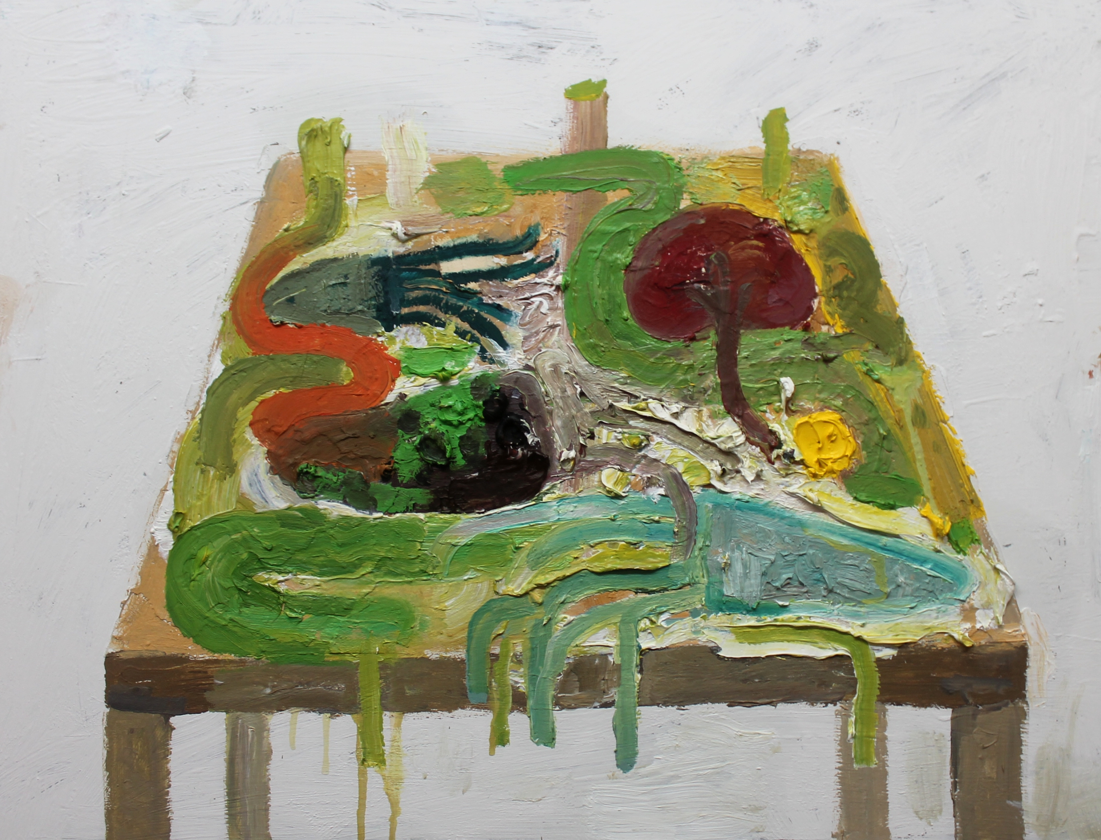 Dissection Table 2   (Green Gland) , 2013, oil on panel, 18 x 24 inches