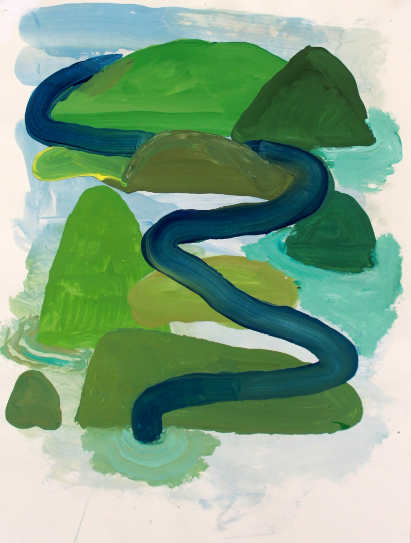 Snake, 2015, acrylic on paper, 20 x 24 inches