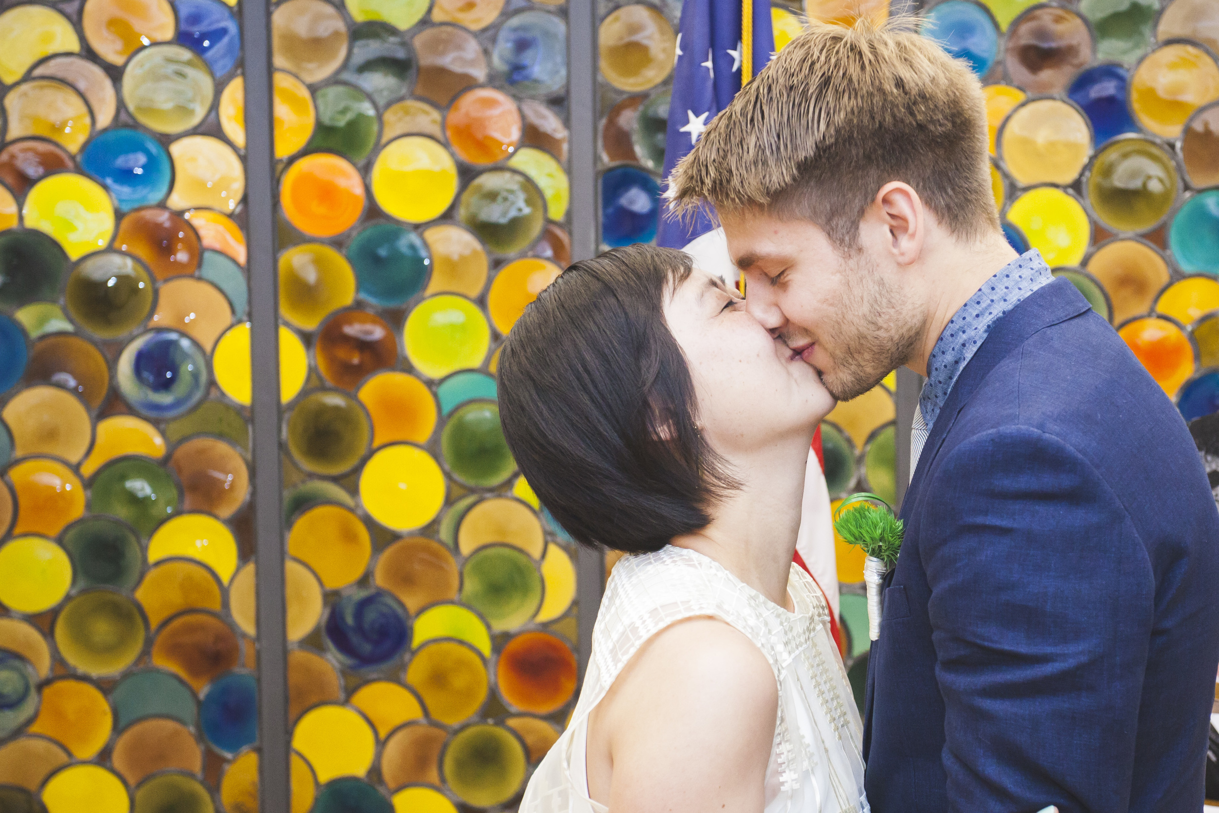 A very short and sweet ceremony ends with a kiss.
