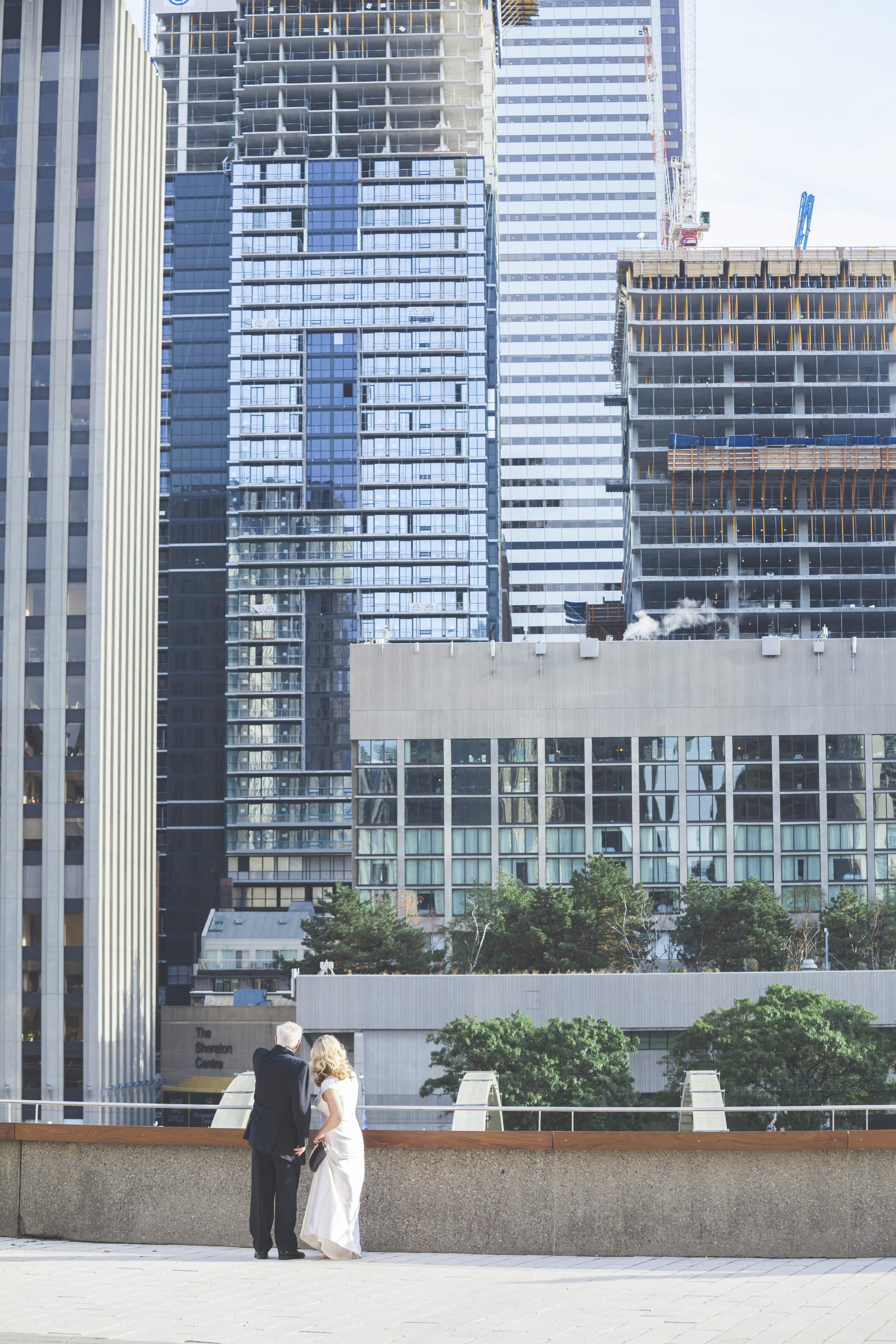 Looking out over Nathan Phillips Square from Toronto City Hall.