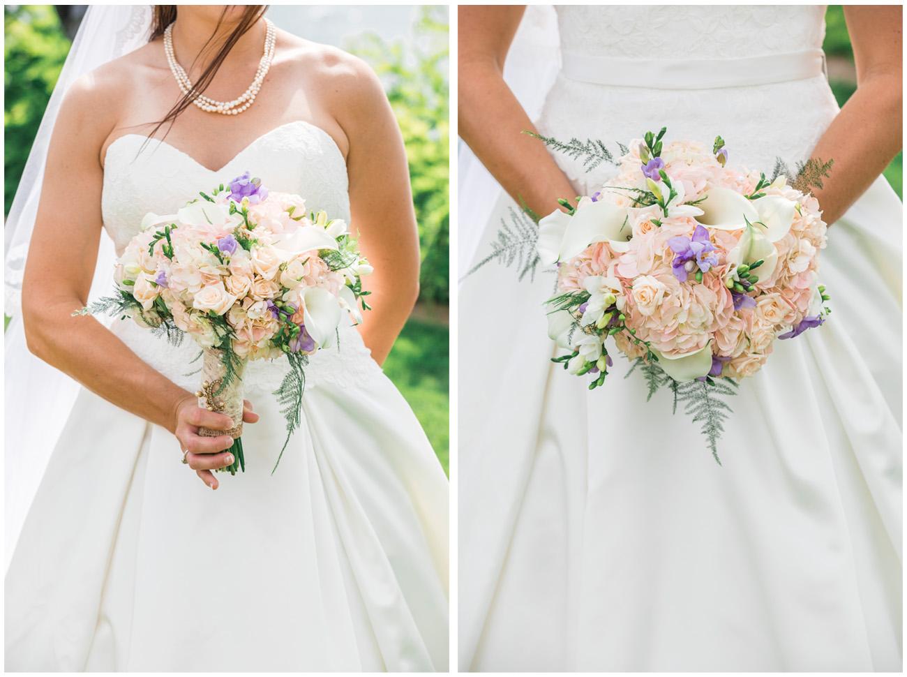 wedding bouquet of flowers held by bride