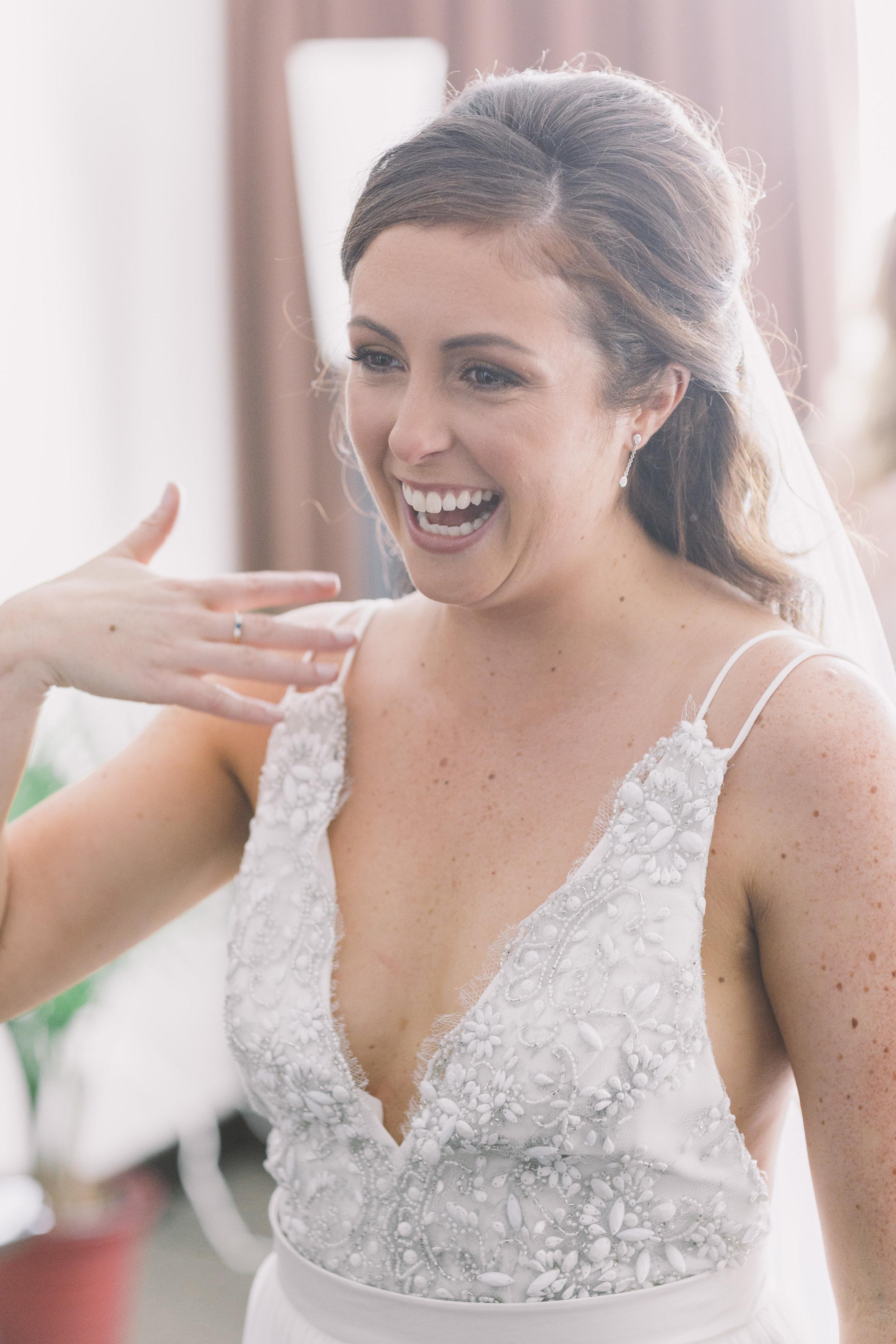 Bride seeing her dad on her wedding day.