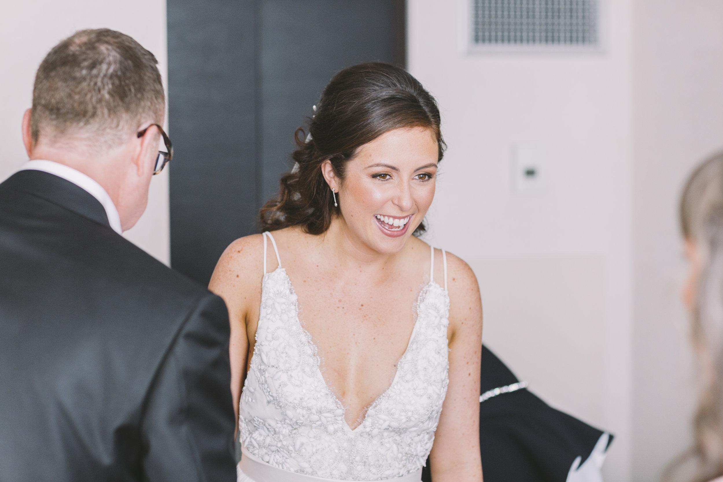 Joyful laughter at a wedding.