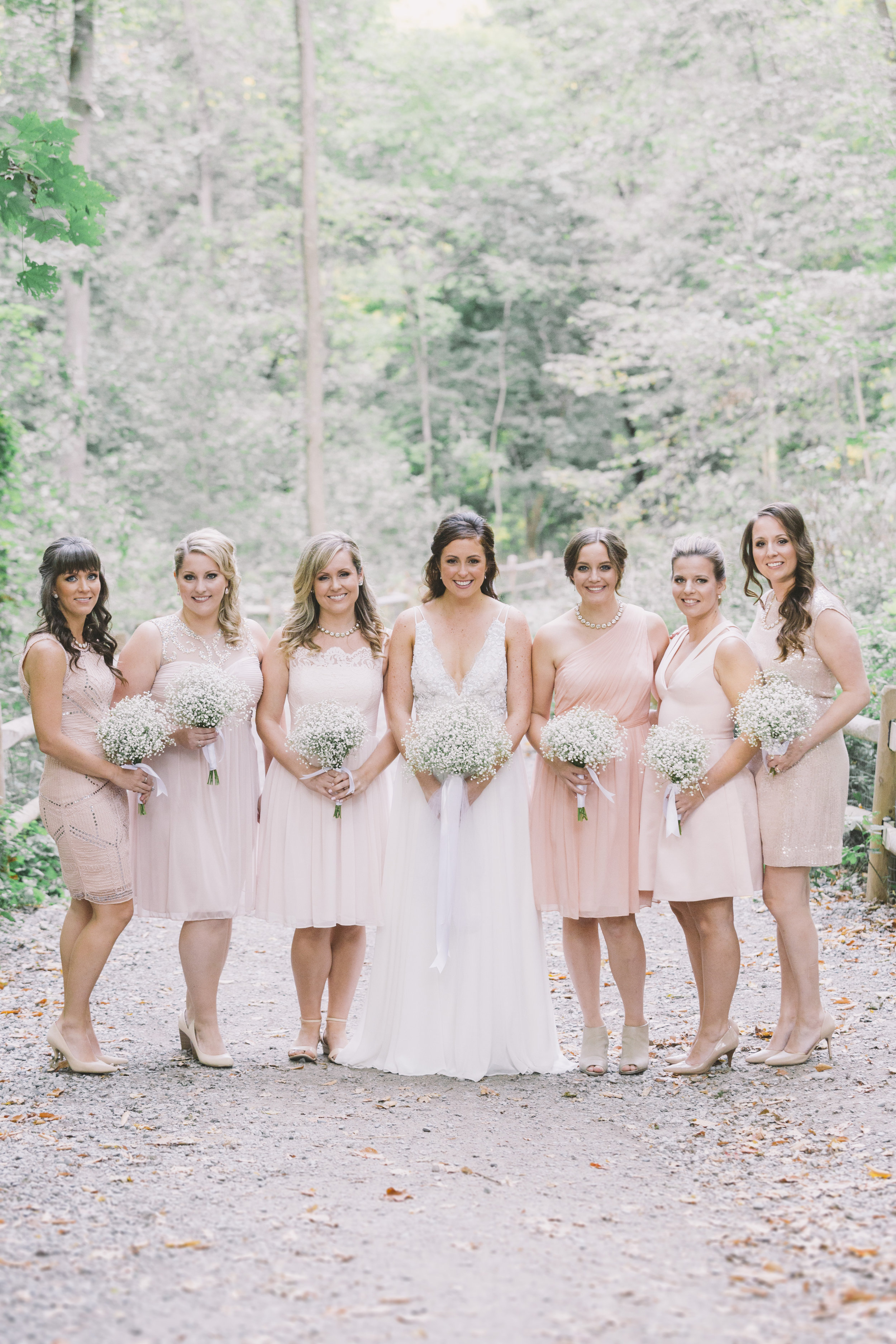bridesmaids with bouquets in the Don Valley