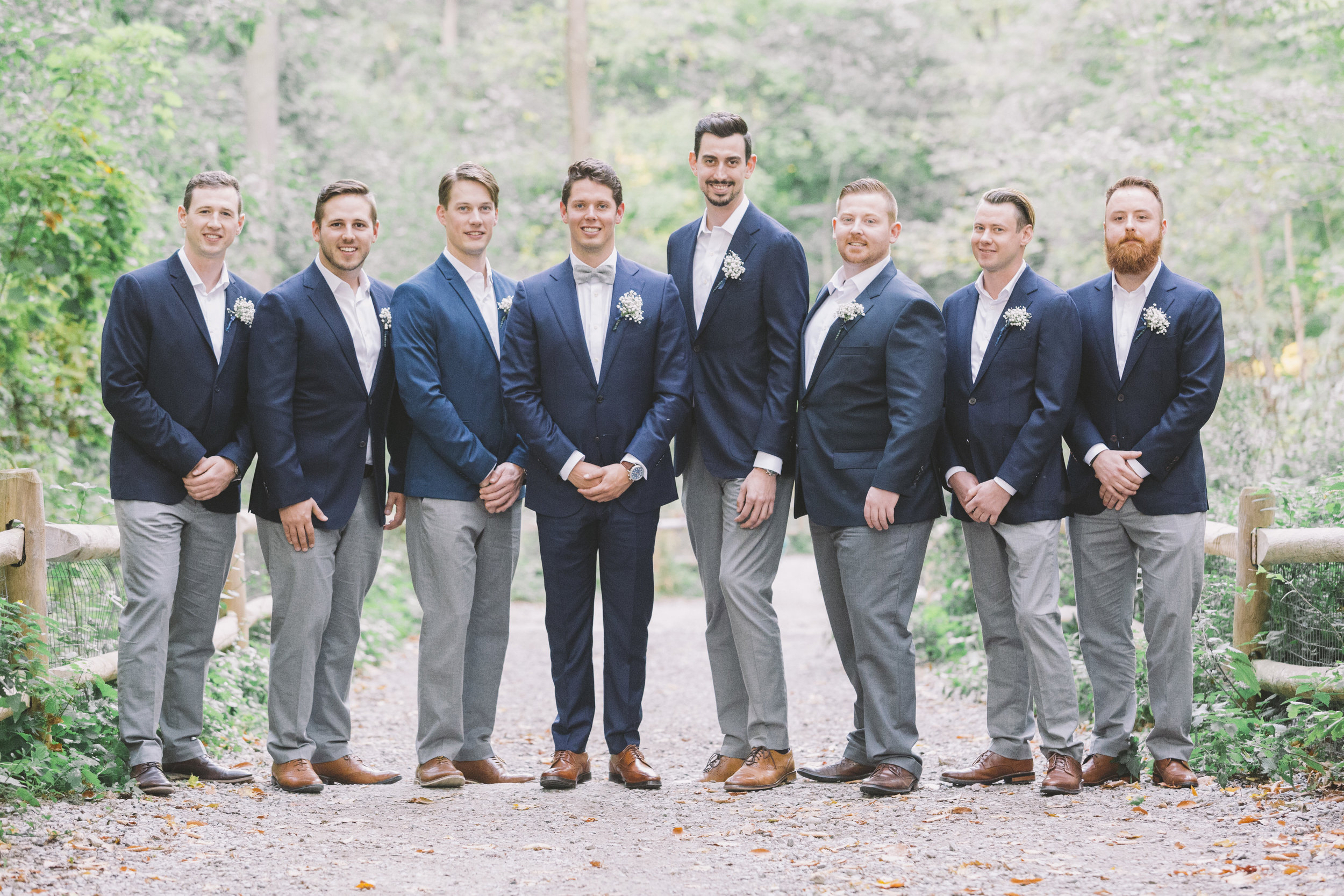 Groom's men posed for a photo in the Don Valley.
