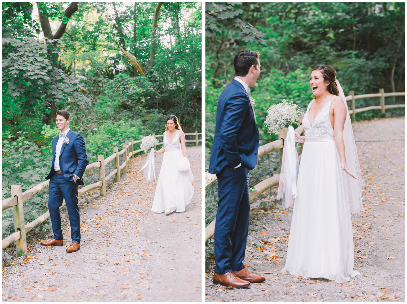 First look photo of bride and groom in Don Valley.