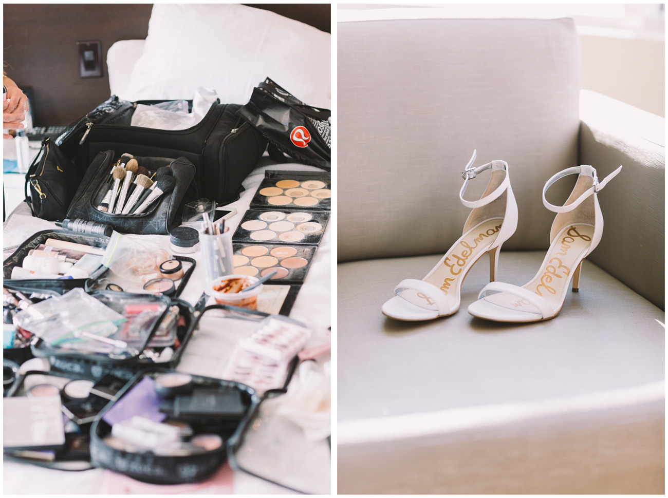 Make up and shoes on display