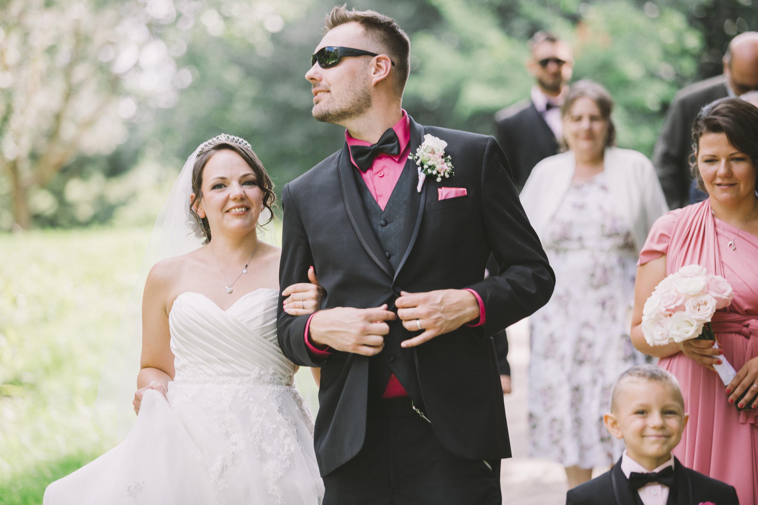 Wedding Couple Walking around Glen Shields Park