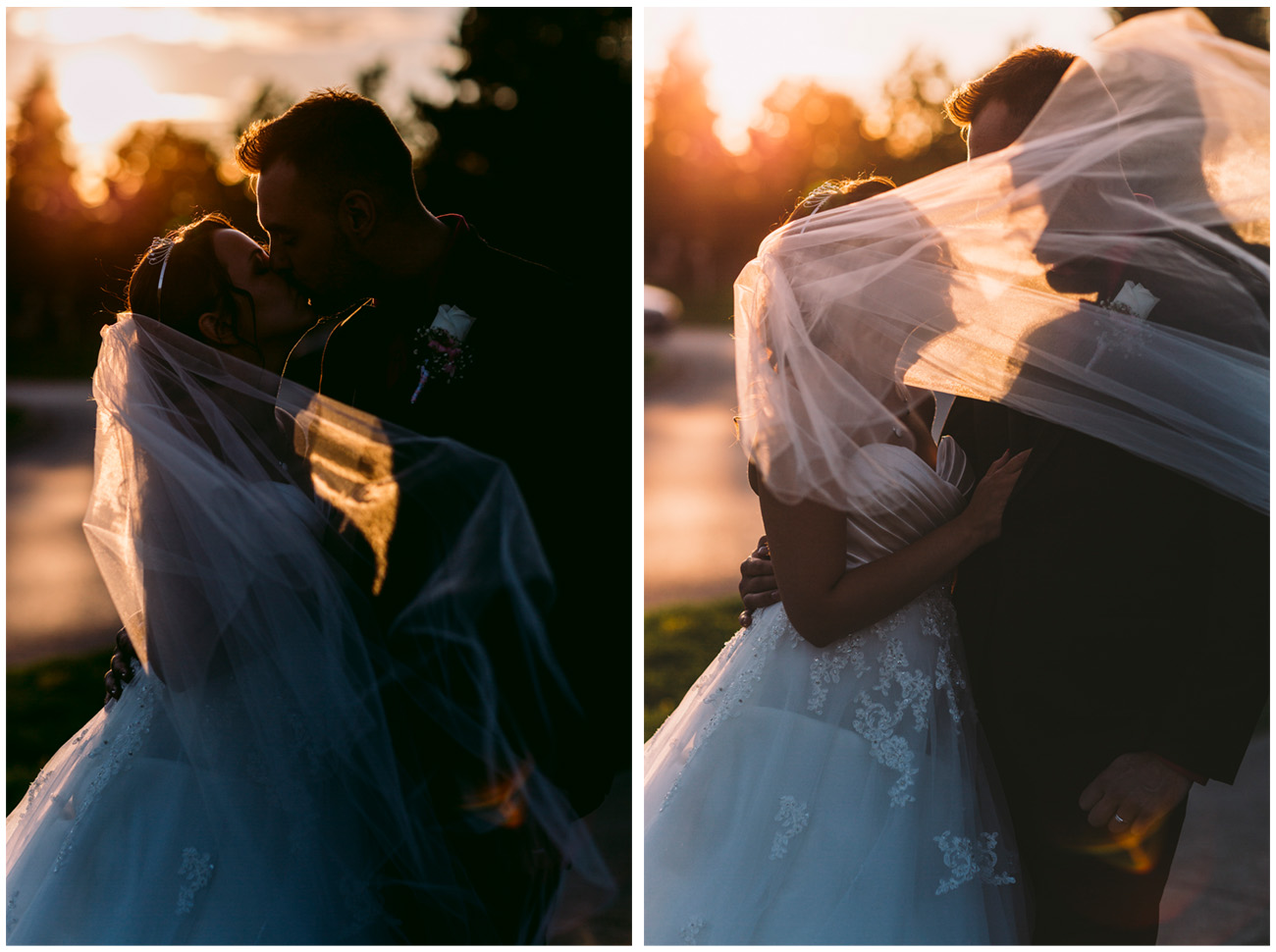 Wedding Couple Portraits under Evening Sun in Toronto