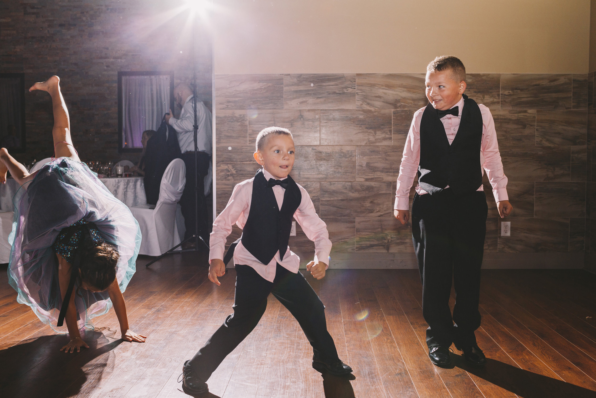 Dancing Kids at a Wedding Reception