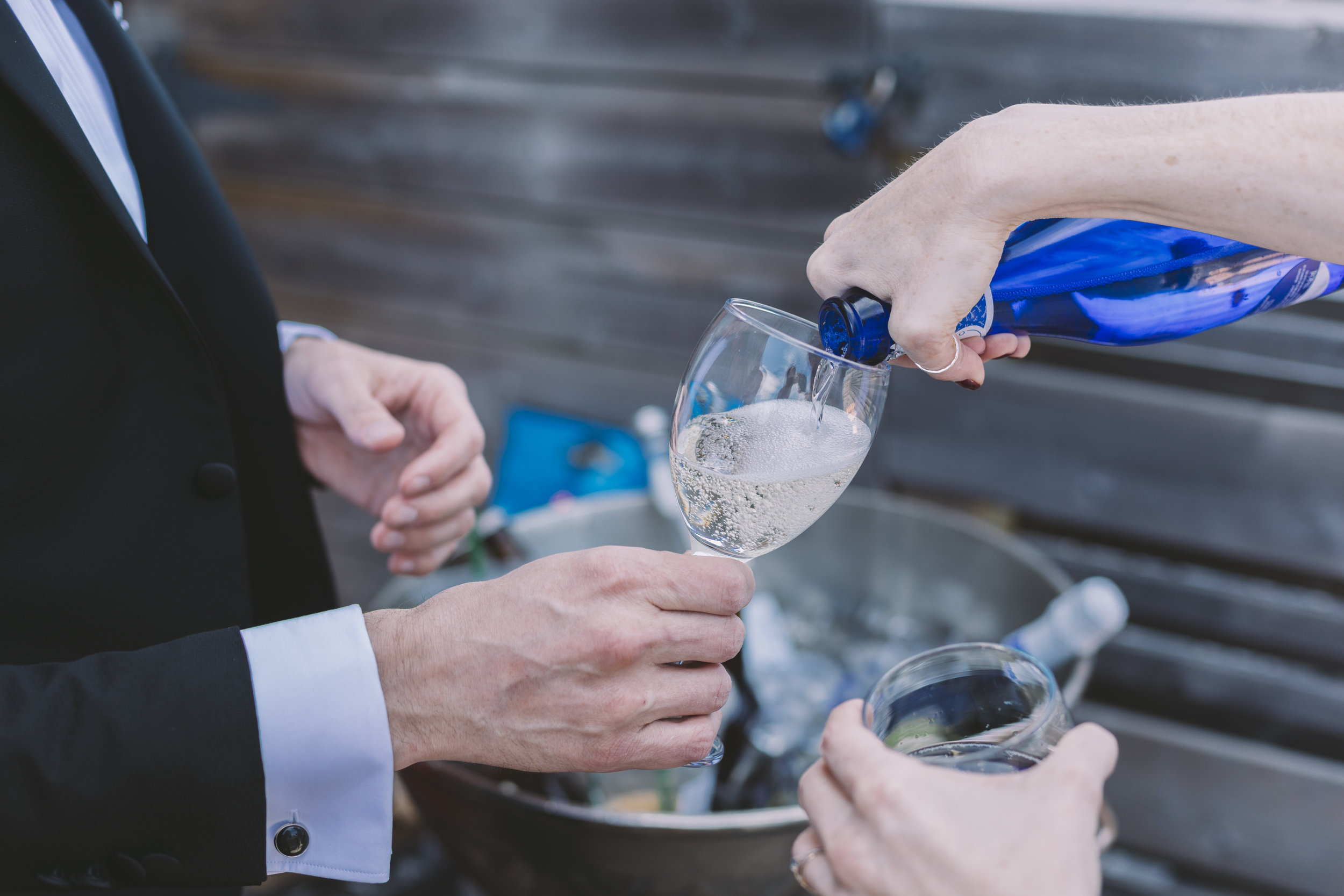 Popping bubbly on the wedding day