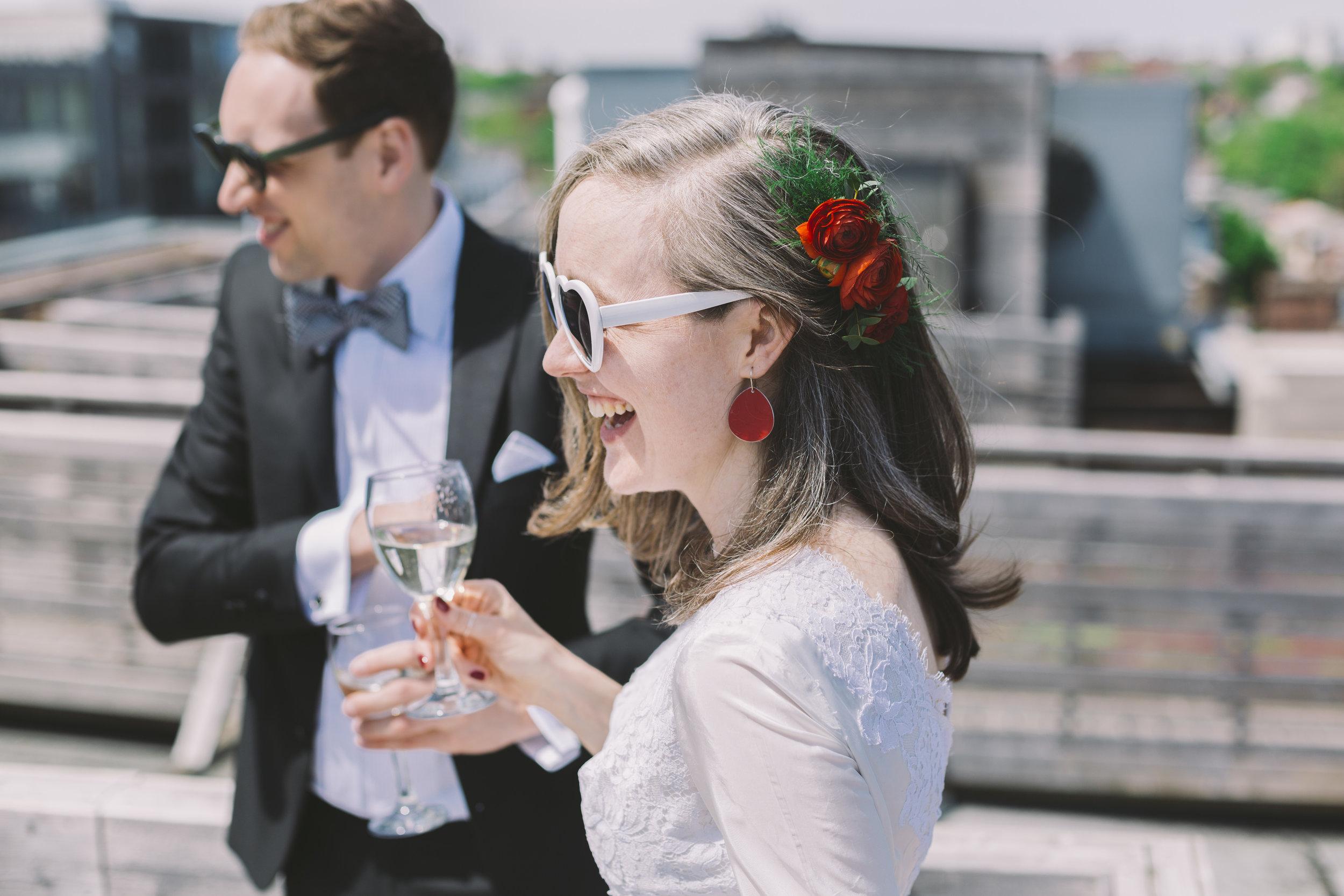 Wedding Couple on the Gladstone Hotel Roof