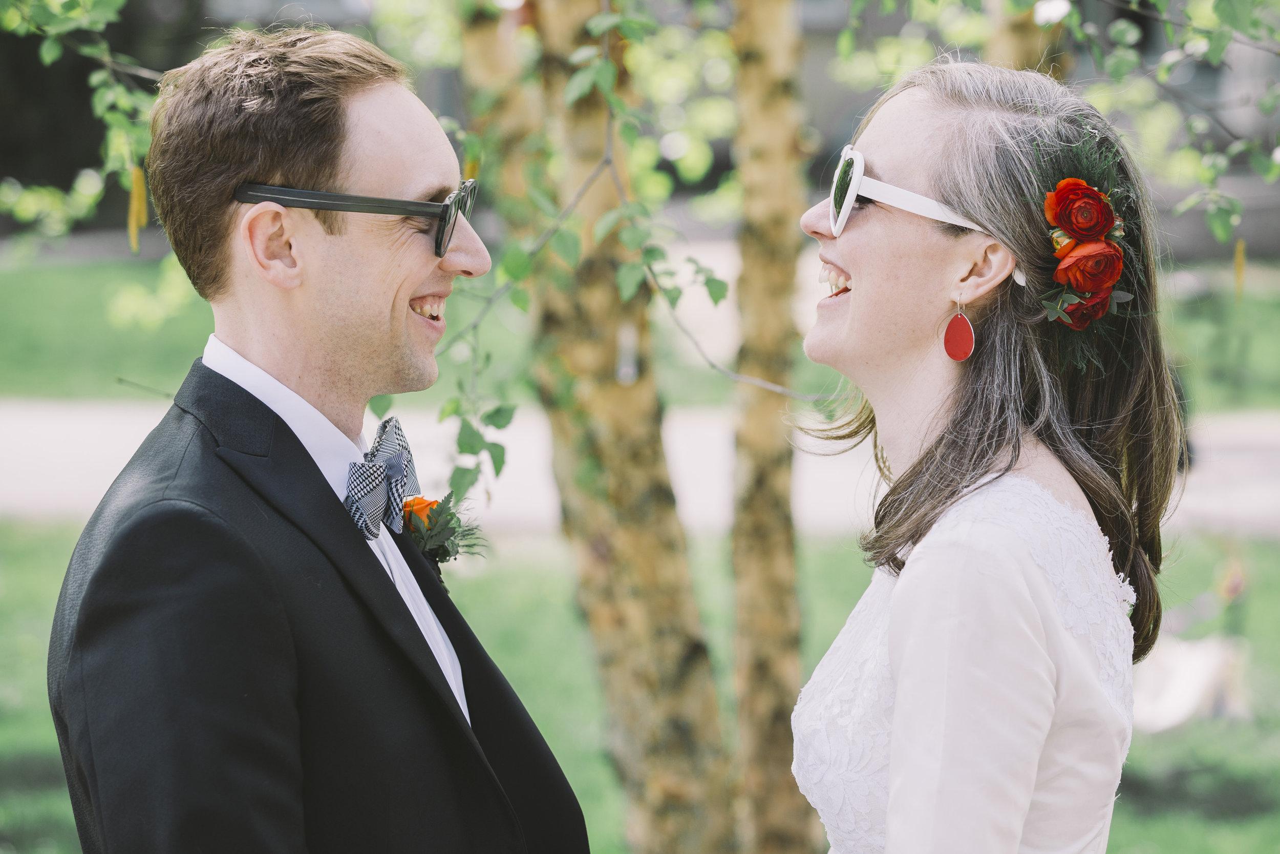 Wedding Couple in Trinity Bellwoods Park