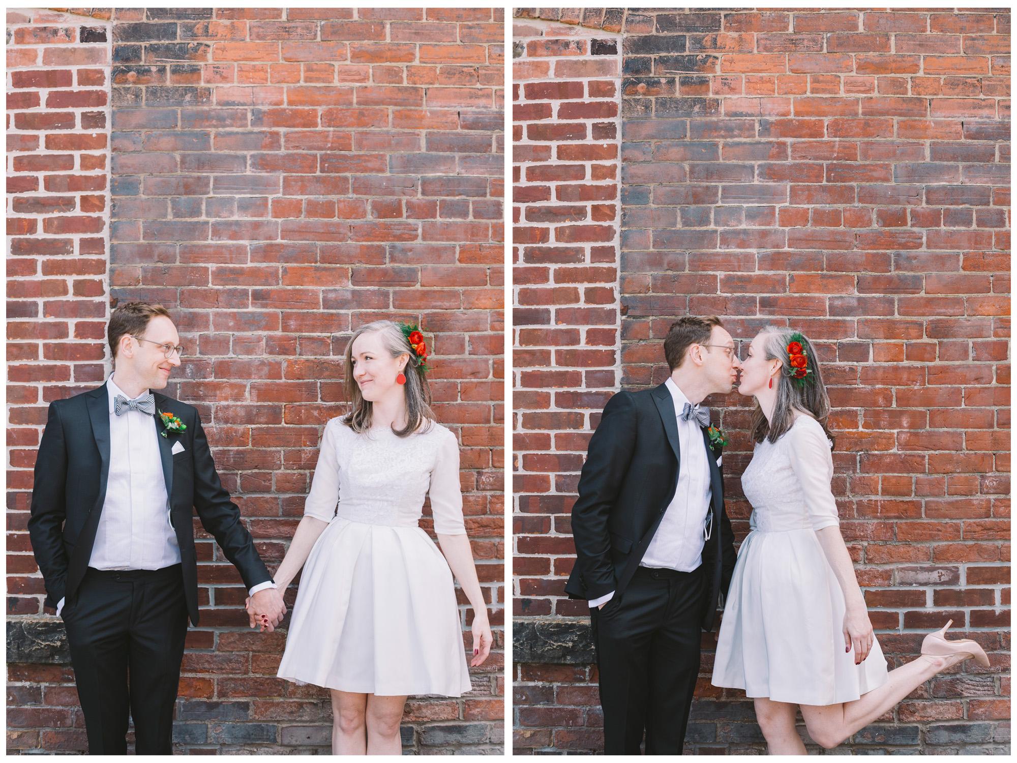 Gladstone Hotel Wedding Photo with Brick Wall