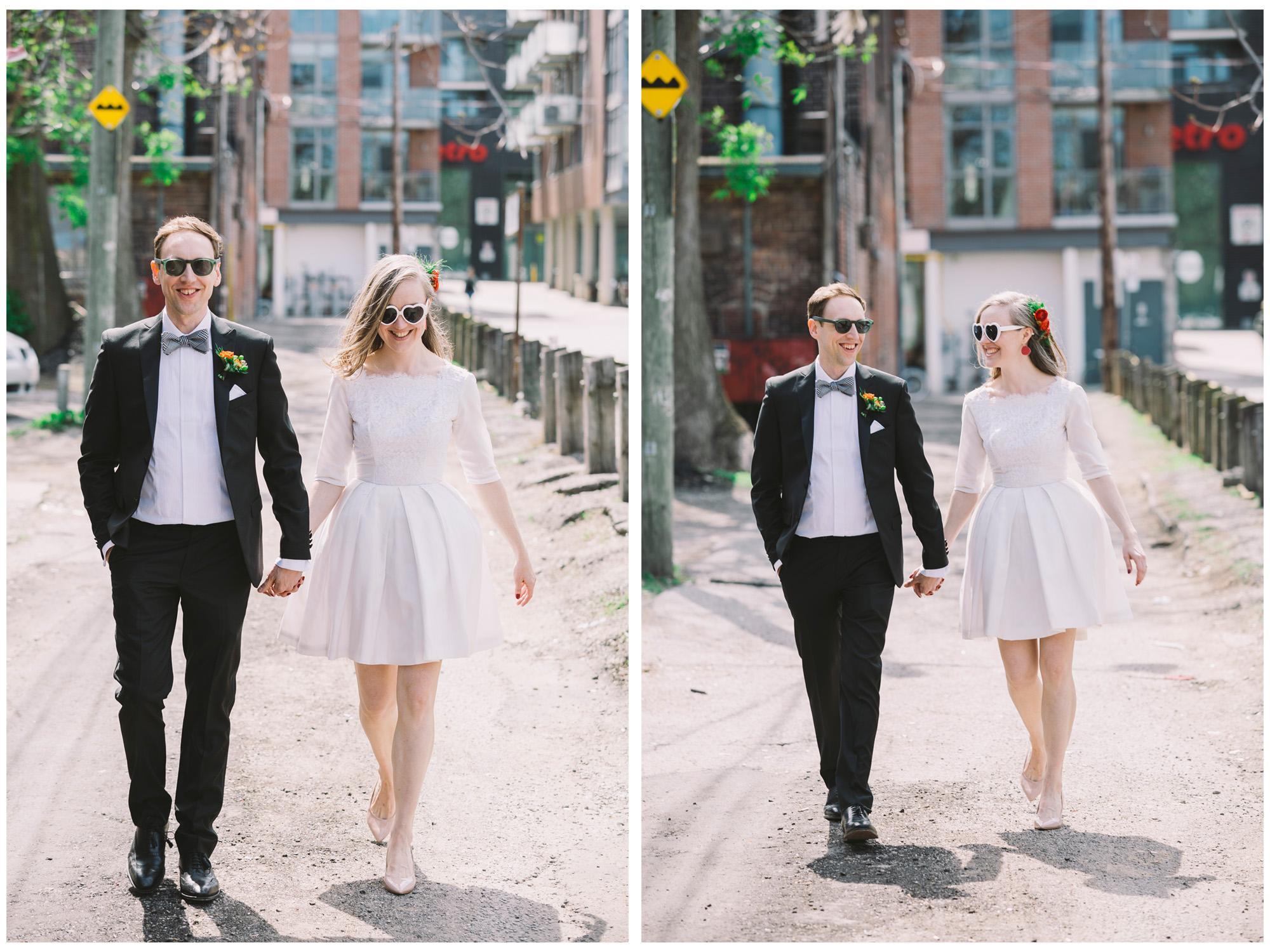 Wedding Couple Walking around Queen West Neighbourhood