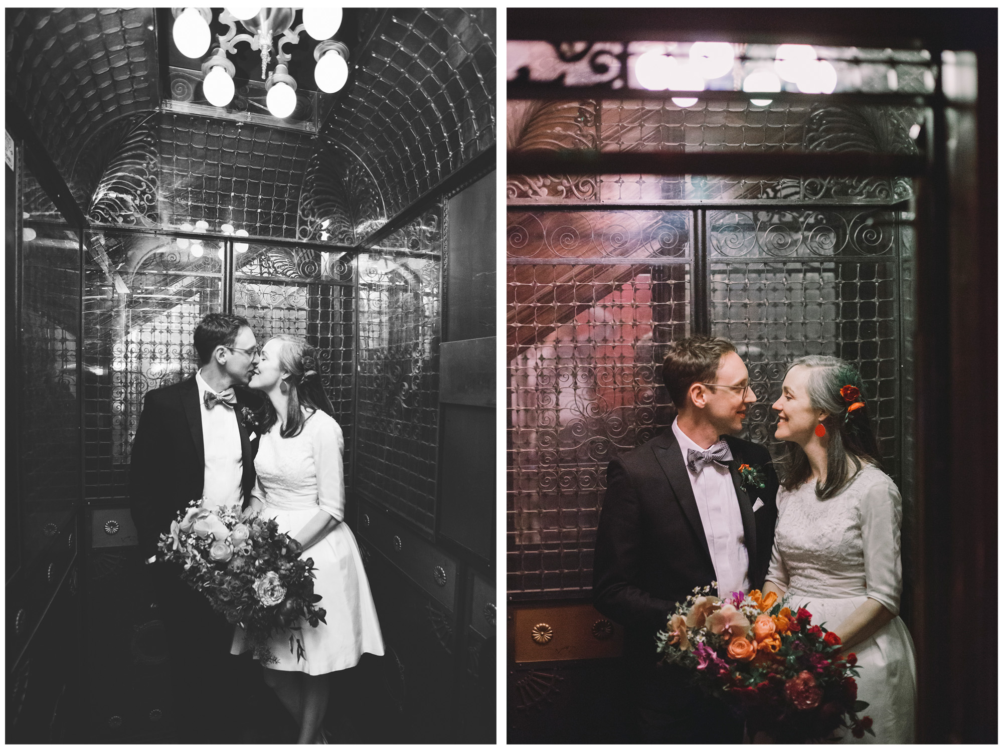 Wedding Couple in the elevator at the Gladstone Hotel in Toronto